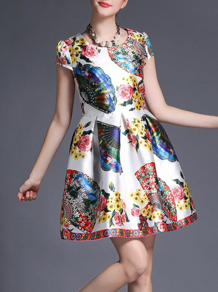 White Printed/Dyed A-line Polyester Short Sleeve Mini Dress