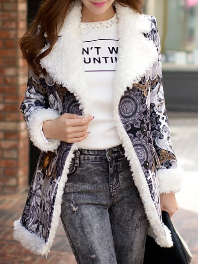 Gray H-line Long Sleeve Printed Coat