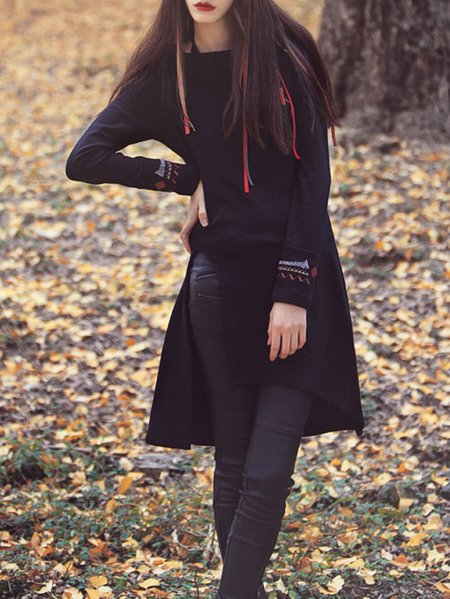 Polyester Asymmetric Long Sleeve Mini Dress