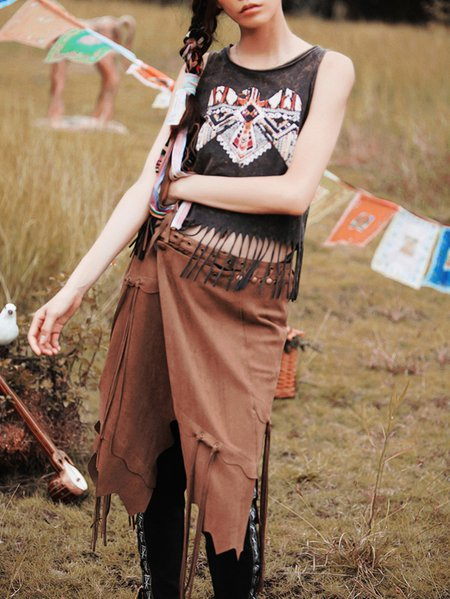 Brown Faux Suede Asymmetrical Fringed Mini Skirt