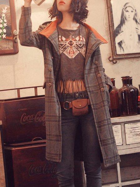 Gray Vintage Turtleneck Embroidery Coat