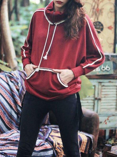 Red Paneled Vintage Cotton-blend Turtleneck Sweatshirt