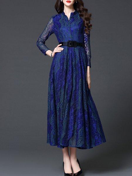 Blue A-line Shirt Collar Pierced 3/4 Sleeve Maxi Dress
