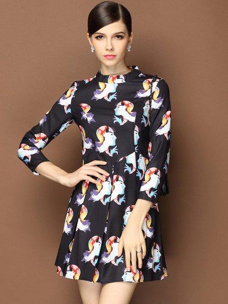 Black 3/4 Sleeve Printed Mini Dress