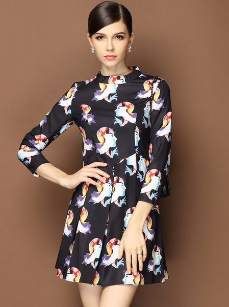 Black Polyester 3/4 Sleeve Printed A-line Mini Dress