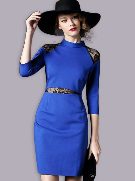 Blue Sheath Simple Stand Collar Mini Dress