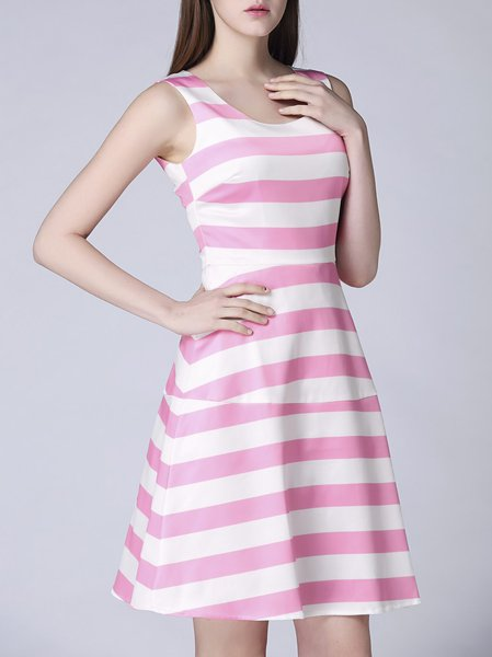 Pink Polyester Printed A-line Sweet Midi Dress