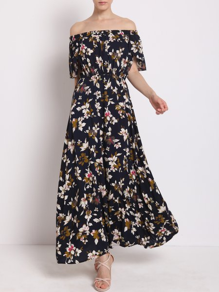 Multicolor Floral-print Textured Stretch Casual Cotton A-line Maxi Dress