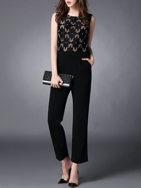 Embroidered Beaded Jumpsuit