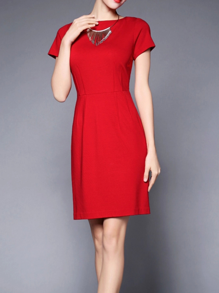 Red A-line Work Mini Dress
