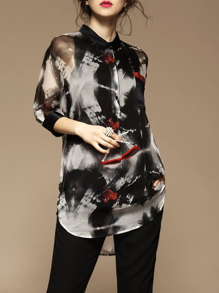 Black Abstract Casual Printed 3/4 sleeve Shirt Collar Blouse