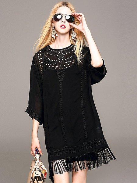 Black Fringed 3/4 Sleeve Crew Neck Mini Dress