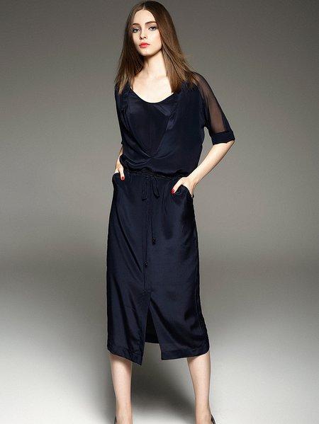 Purplish Blue Plain Casual H-line Midi Dress