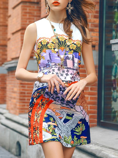 Multicolor Sleeveless Floral Printed Mini Dress