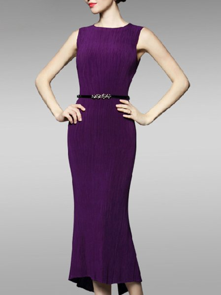 Purple Elegant Sheath Slit Midi Dress with Belt