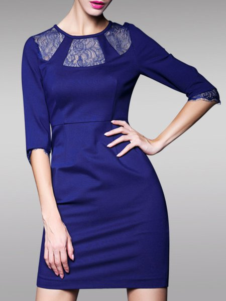Blue Half Sleeve Cotton Paneled Sheath Mini Dress