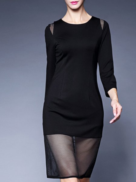 Long Sleeve Paneled Polyester Simple Knee Length Dress