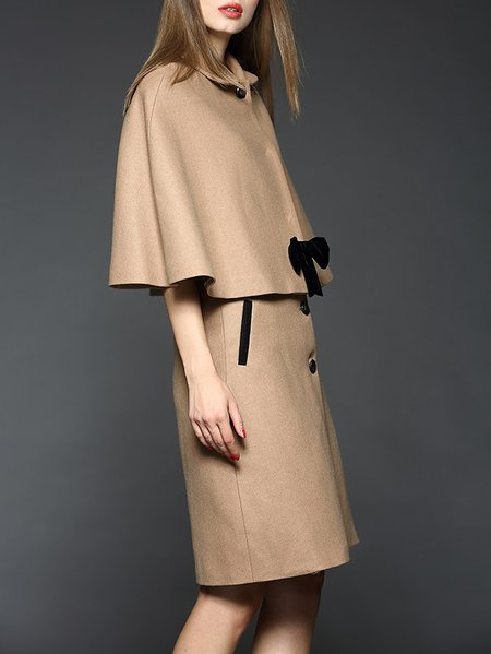 Khaki Bow Wool Plain Midi Skirt - StyleWe.com