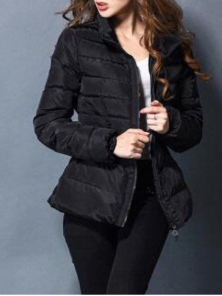 Black Zipper Turtleneck Long Sleeve Down Coat