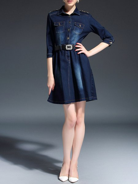 Purplish Blue Polyester Square Neck Paneled Half Sleeve Knee Length Dress