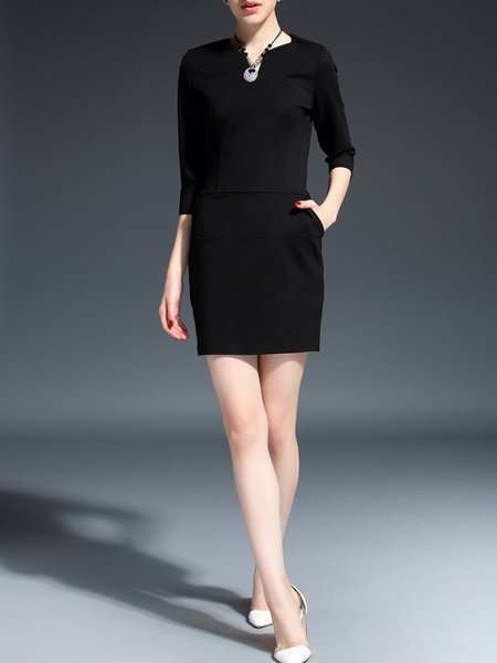 Black V Neck Half Sleeve Paneled Mini Dress