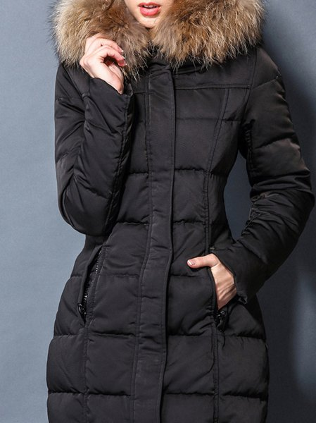 Black Zipper Polyester Long Sleeve Down Coat