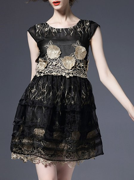Black Sleeveless Organza Embroidery Floral Mini Dress