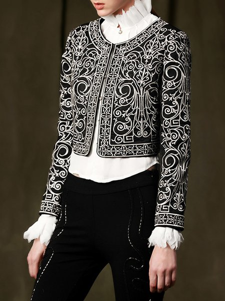 Black Floral Embroidery Long Sleeve Polyester Jacket