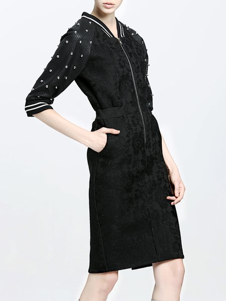 Black Embroidery Lace Turtleneck Half Sleeve Midi Dress