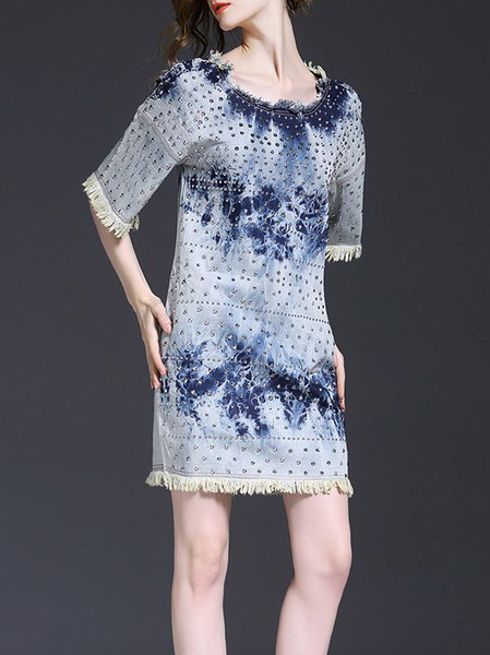 Dark Blue Sheath Half Sleeve Polyester Beaded Mini Dress