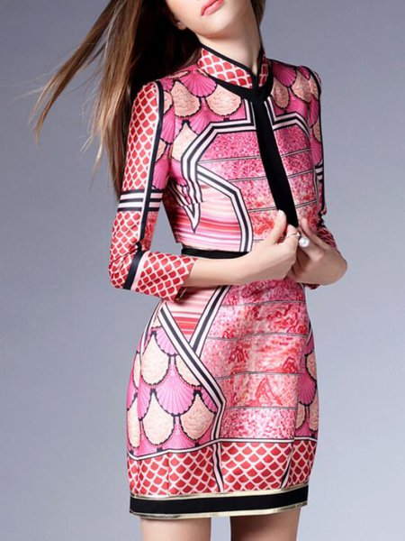 Multicolor Two Piece Stand Collar Long Sleeve Printed Mini Dress