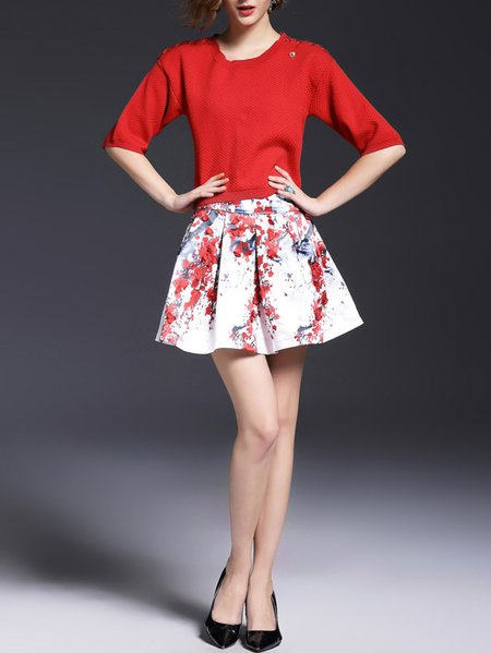 Red Two Piece Half Sleeve Mini Dress
