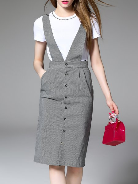 Beaded Short Sleeve Casual Midi Dress