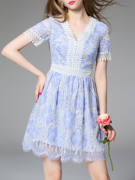 A-line Short Sleeve Girly Plain Mini Dress