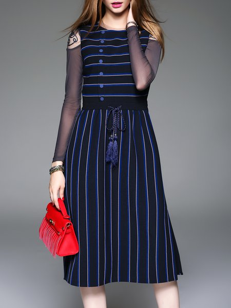 Blue Sleeveless Crew Neck Sleeveless Stripes Midi Dress