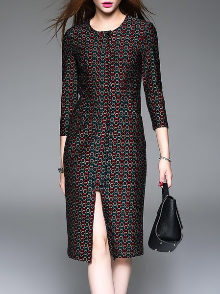 Multicolor H-line 3/4 Sleeve Slit Geometric Midi Dress