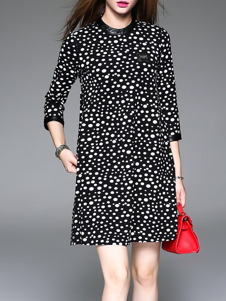 Black Crew Neck Printed Polyester Polka Dot Mini Dress