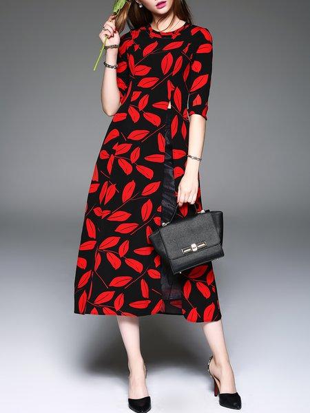 Printed Elegant 3/4 Sleeve A-line Crew Neck Midi Dress