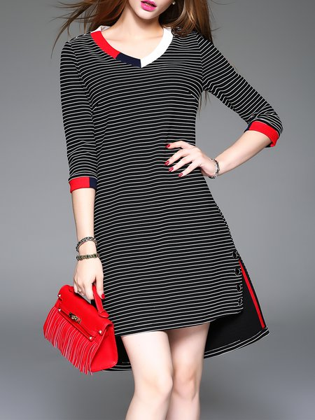 Black A-line Printed Casual Stripes Asymmetric Mini Dress