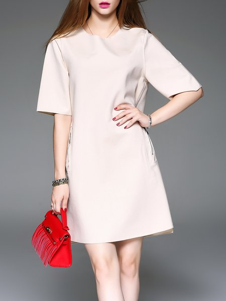 Shift Half Sleeve Crew Neck Simple Plain Mini Dress