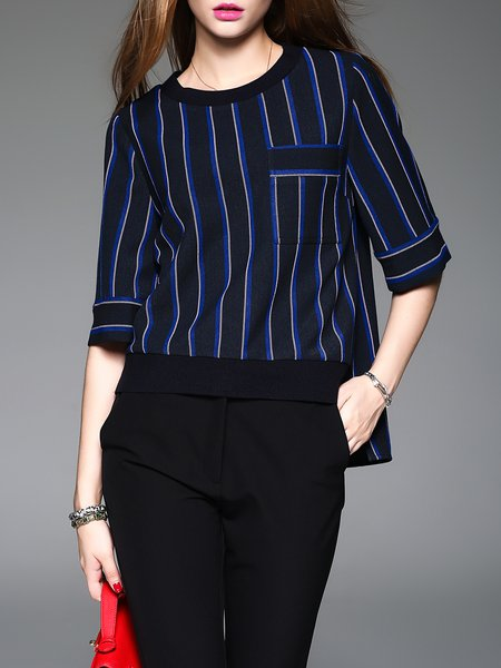 Blue Printed Stripes Casual Rayon Blouse