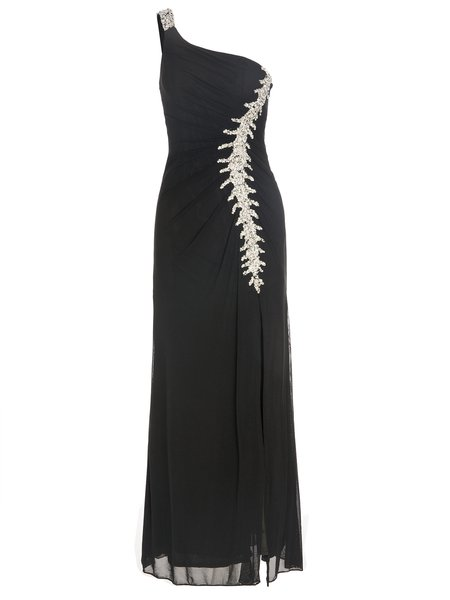 Beaded Single Sleeve Skater Evening Maxi Dress