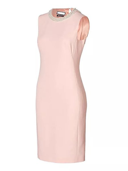 Pink Bodycon Evening Crew Neck Midi Dress