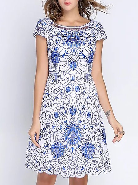 Shorts Sleeve Floral-print Floral  Cocktail Midi Dress