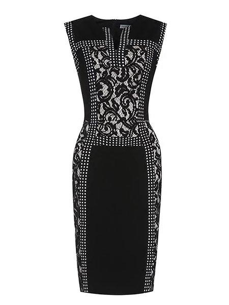 Black Cocktail Floral Bodycon Crew Neck Midi Dress