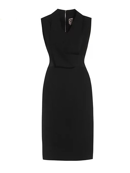 Black V Neck Cocktail Sheath Midi Dress