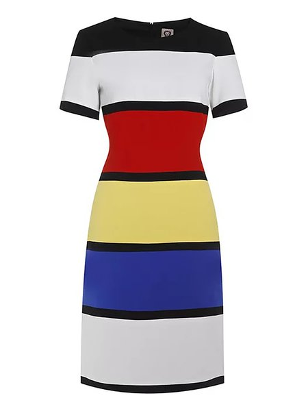 Multicolor Crew Neck Cocktail Paneled Midi Dress