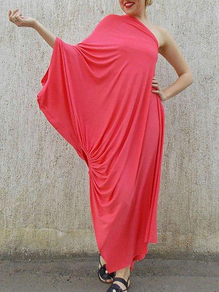 Asymmetrical Statement 3/4 Sleeve Viscose Plain Maxi Dress