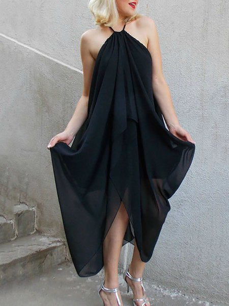 Black Statement V Neck Viscose Asymmetrical Maxi Dress