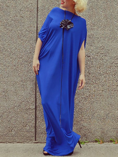 Blue Asymmetrical Statement Viscose Plain Maxi Dress
